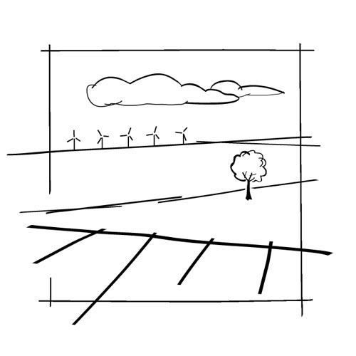 Croquis vectoriels permettant d'illustrer ici une situation-type d'un parc éolien dans le paysage