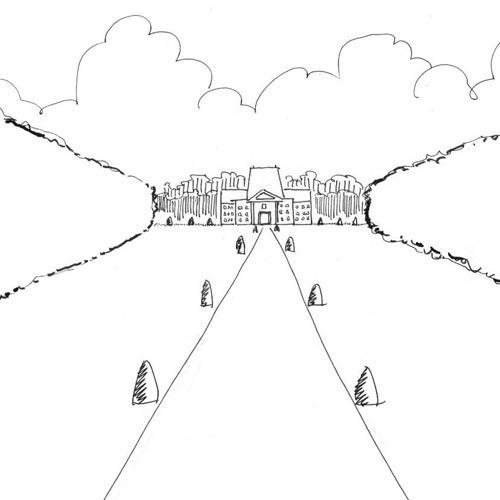Croquis de terrain à main levée, permettant de représenter simplement les principaux éléments compositionnels d'un paysage ou d'un site